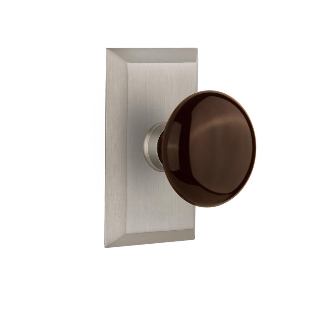 Studio Plate 2-3/8 in. Backset Satin Nickel Privacy Brown Porcelain Door Knob