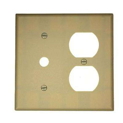 2-Gang 1-Duplex Receptacle 1.406 in. Dia Phone/Cable Opening Plastic Combination Wall Plate, Ivory