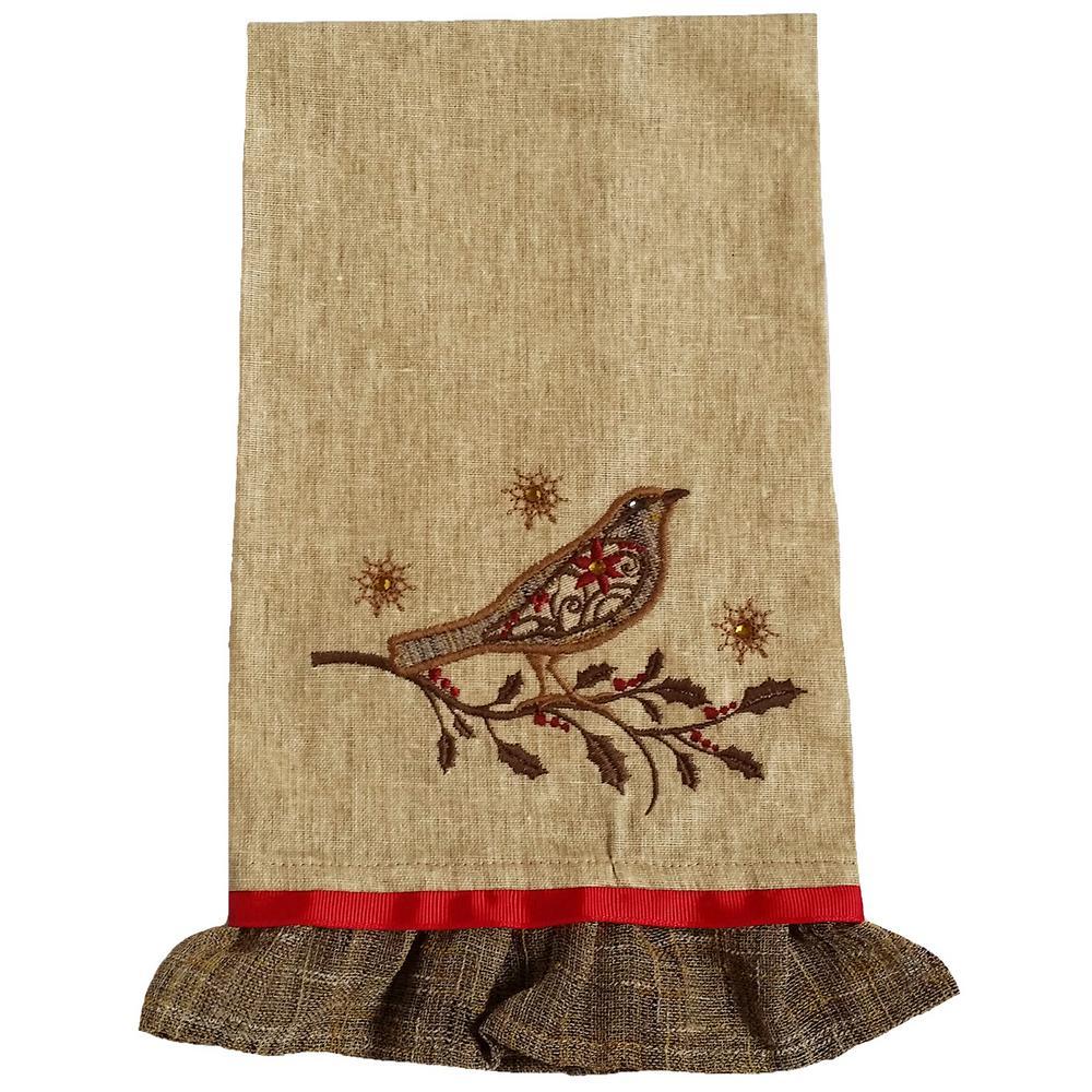 16 in. x 22 in. Bird On Twig Embroidery Tea Towel