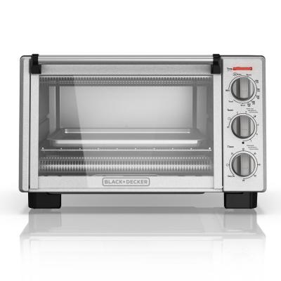 1350 W 6-Slice Black and Silver Convection Toaster Oven with Built-In Timer
