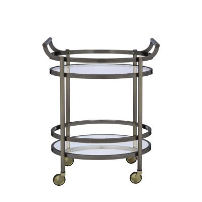 Lakelyn Clear Glass and Gold Serving Cart