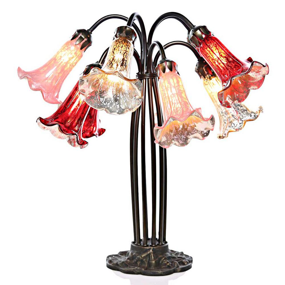 Red Medley Mercury Glass Table Lamp With 10 Lily Shades