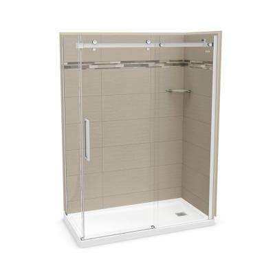 Utile Origin 32 in. x 60 in. x 83.5 in. Right Drain Corner Shower Kit in Greige with Chrome Shower Door
