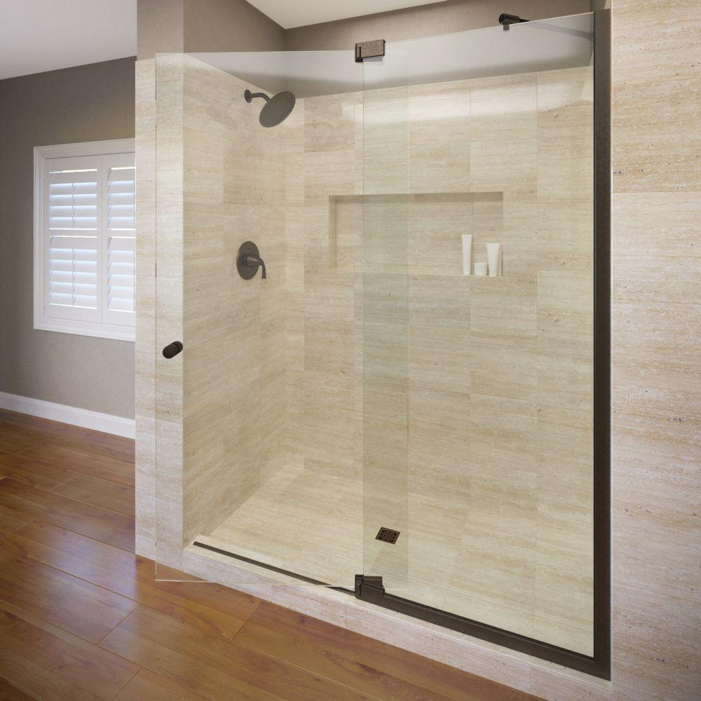 Basco Cantour 60 In X 76 In Semi Frameless Pivot Shower Door In