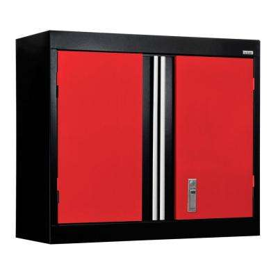 26 In H X 30 W 12 D Modular Steel Wall Cabinet Full Pull Black Red