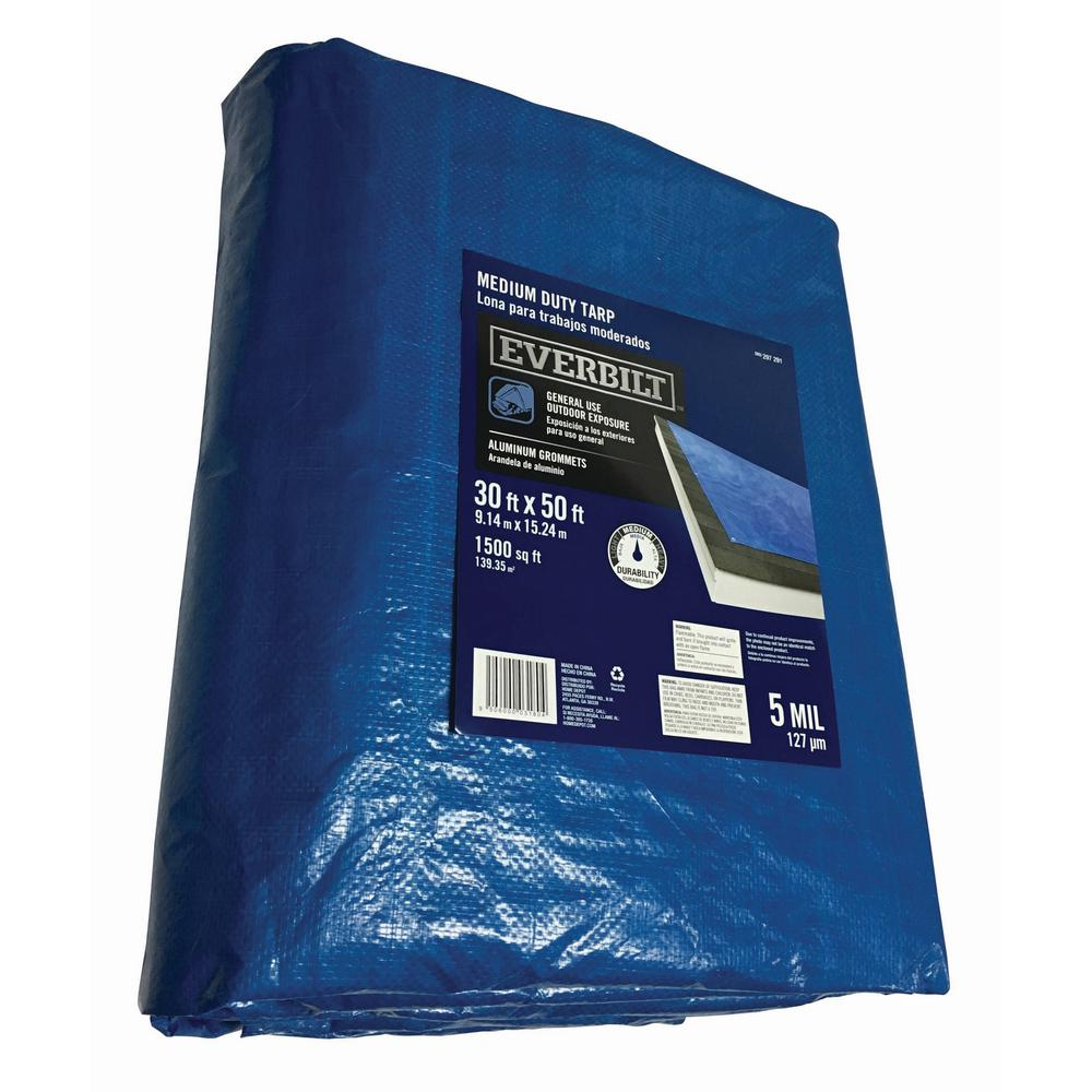 30 ft x 50 ft General Purpose Blue Tarp The Home Depot