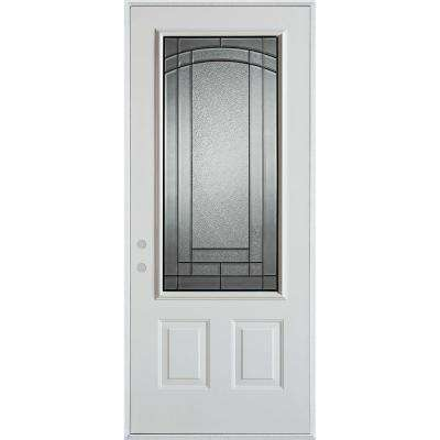 37.375 in. x 82.375 in. Chatham Patina 3/4 Lite 2-Panel Painted White Right-Hand Inswing Steel Prehung Front Door