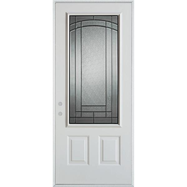 36 in. x 80 in. Chatham Patina 3/4 Lite 2-Panel Painted White Right-Hand Inswing Steel Prehung Front Door