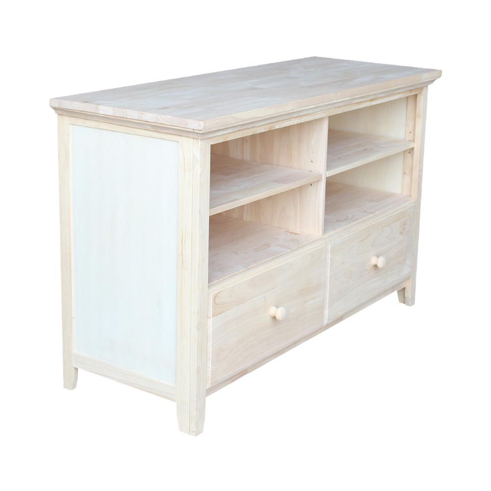 Details About Unfinished Storage Entertainment Center Console Table Tv Stand Wood Solid Decor