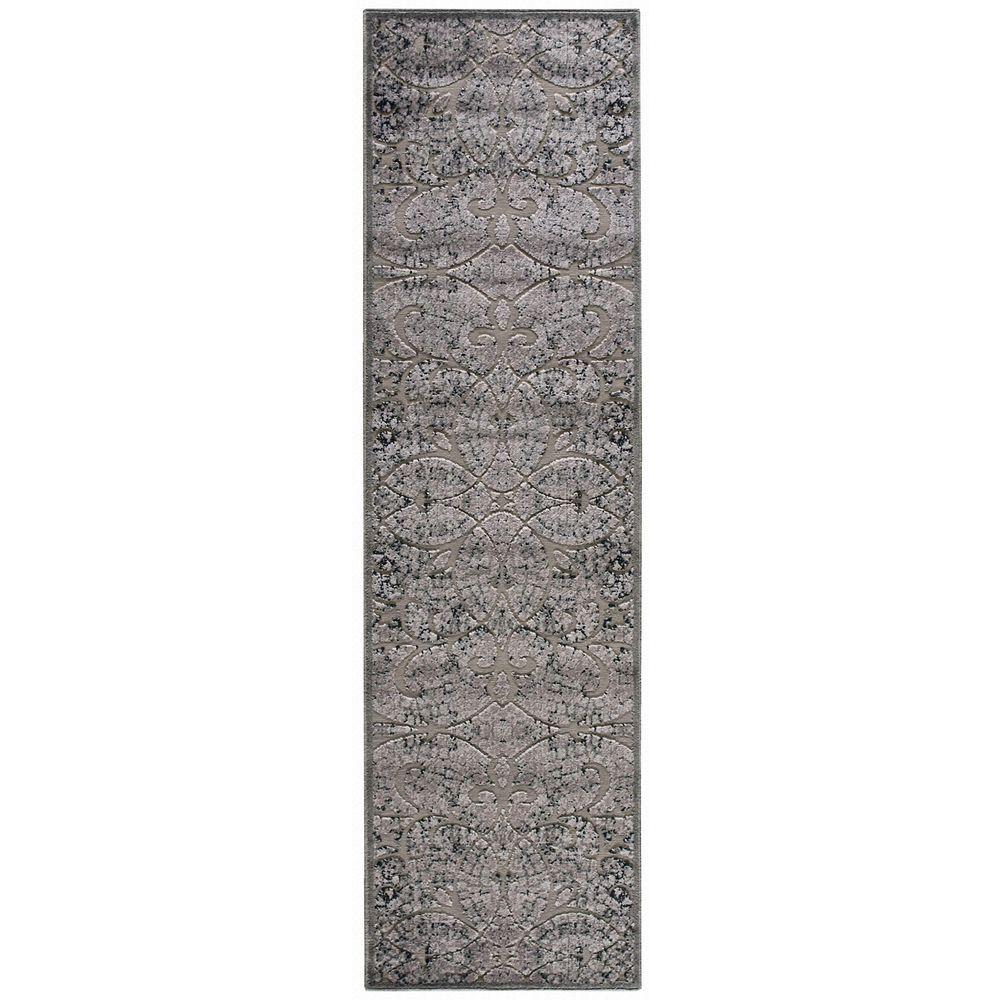 nourison graphic illusions grey 2 ft 3 in x 8 ft rug runner 131157 the home depot. Black Bedroom Furniture Sets. Home Design Ideas