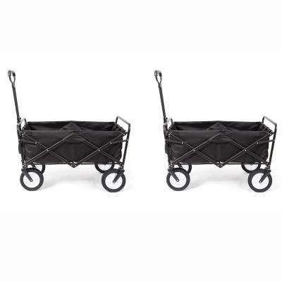 Folding Outdoor Garden Utility Wagon Cart and Table, Black (2-Pack)