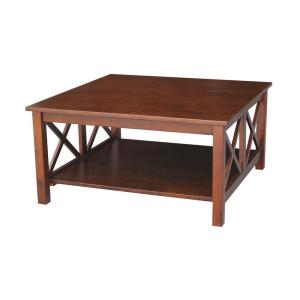Hampton 36 in. Espresso Medium Square Wood Coffee Table with Shelf