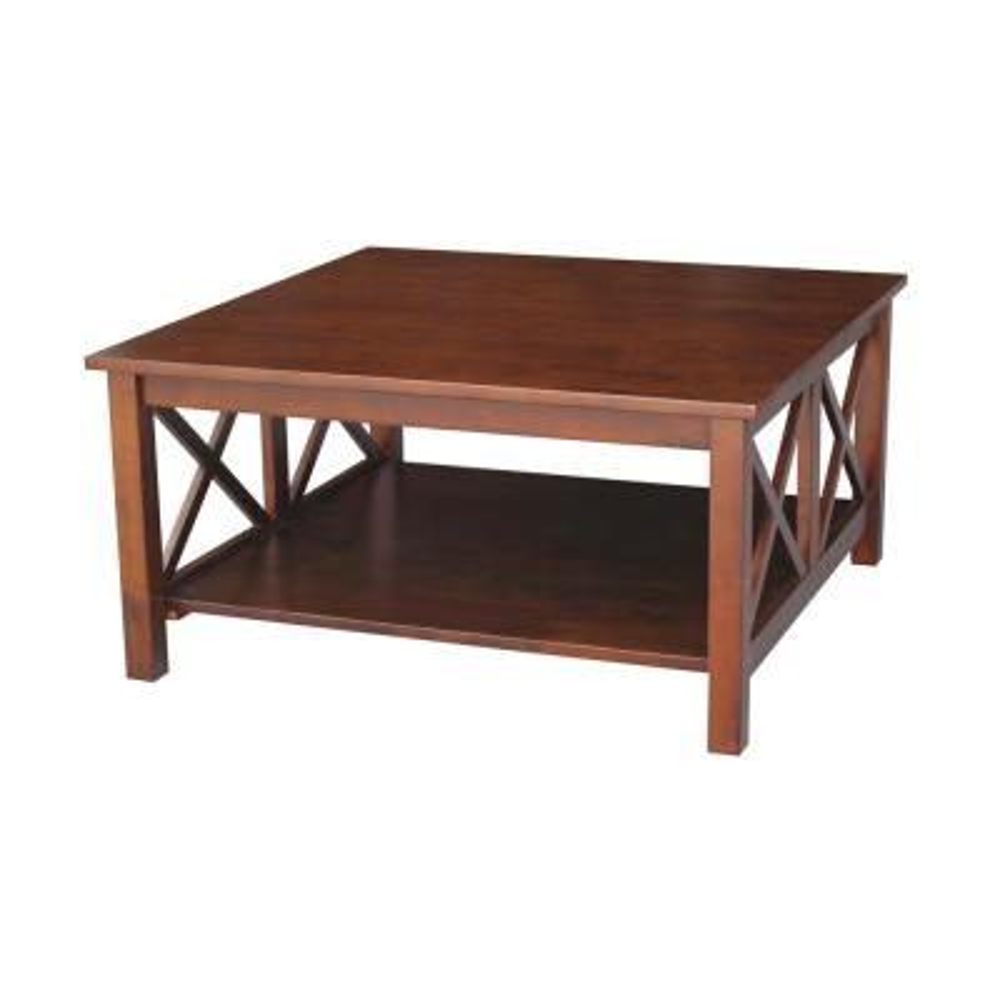 Hampton 36 in. Espresso Medium Square Wood Coffee Table with Shelf
