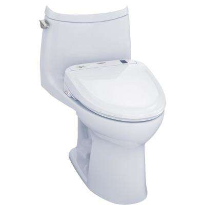 UltraMax II Connect 1-Piece 1.0 GPF Elongated Toilet with Washlet S300e Bidet and CeFiOntect in Cotton White