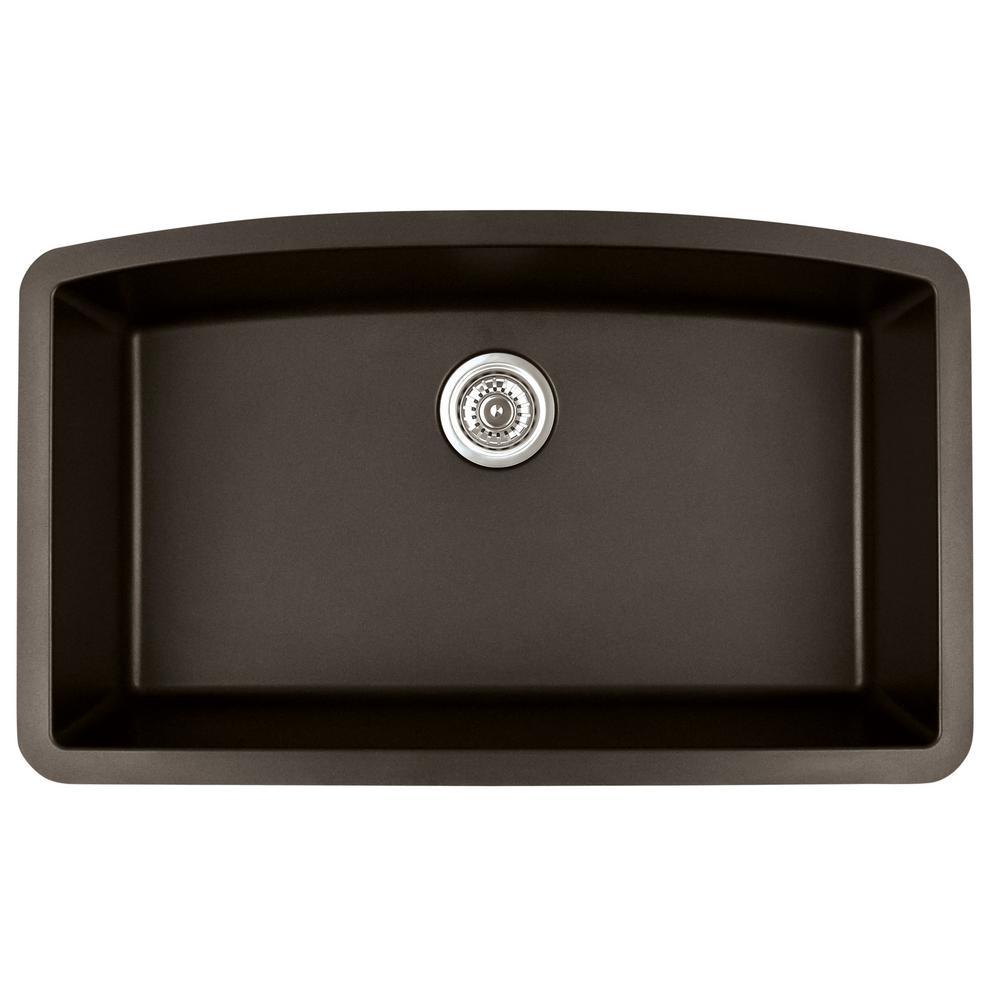 Undermount Quartz Composite 32 in. Single Bowl Kitchen Sink in Brown