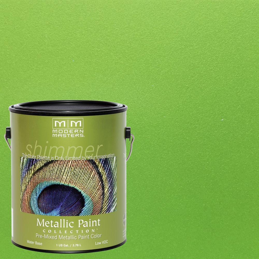 1 gal. Green Apple Water-Based Satin Metallic Interior/Exterior Paint
