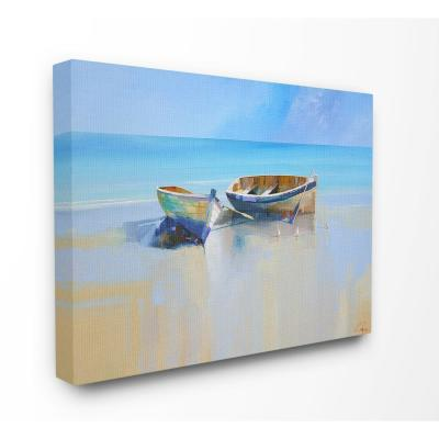 "30 in. x 40 in. ""Two Row Boats at the Shining Shore Painting "" by Craig Trewin Penny Canvas Wall Art"