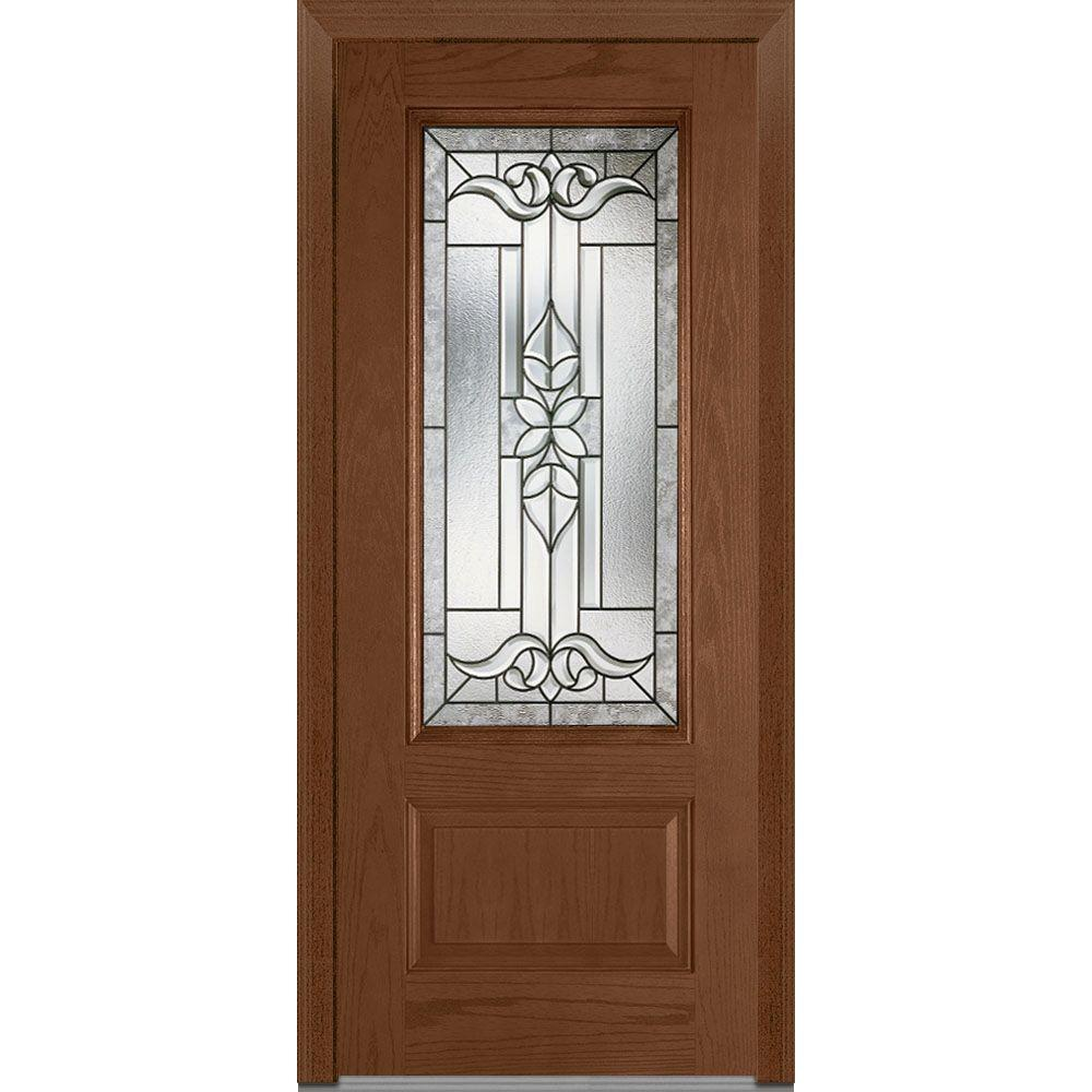 36 in. x 80 in. Cadence Left-Hand Inswing 3/4-Lite Decorative 1-Panel
