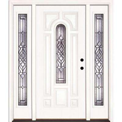 59.5 in.x81.625in.Lakewood Patina Center Arch Lt Unfinished Smooth Left-Hand Fiberglass Prehung Front Door w/ Sidelites