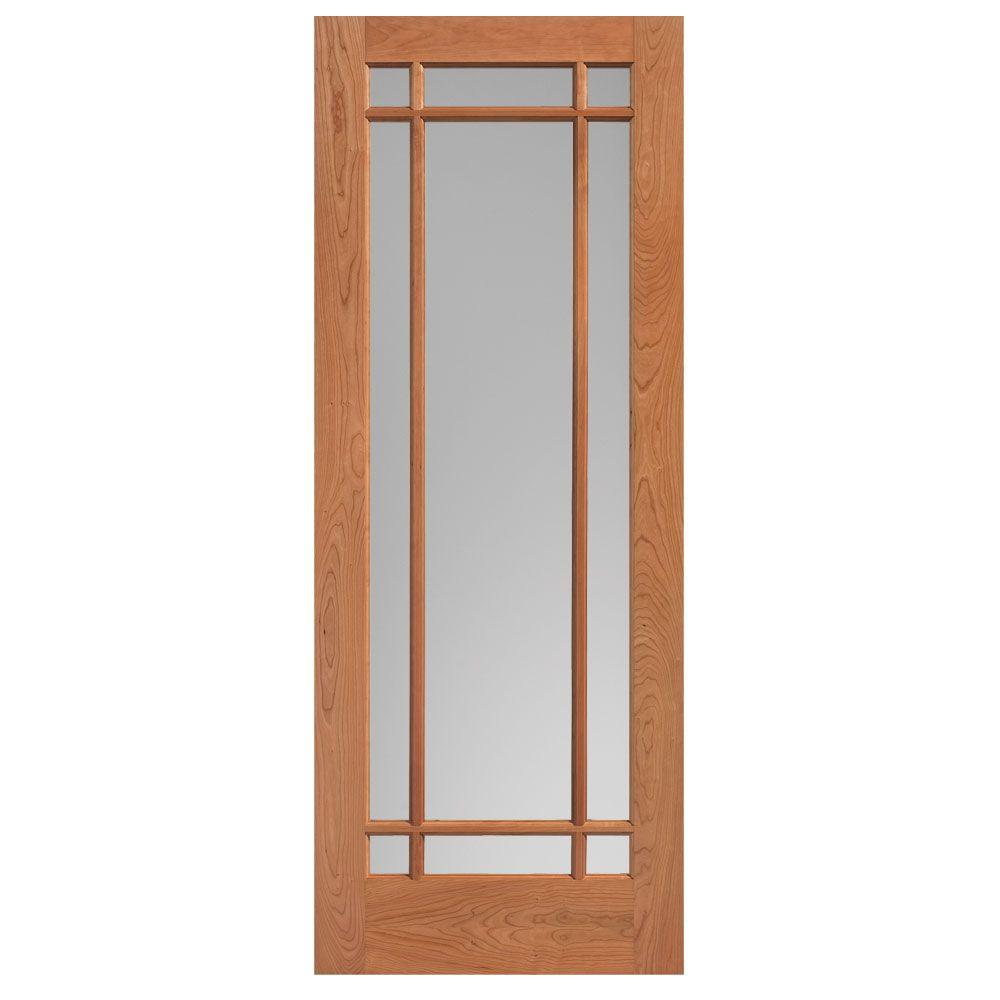 36 in. x 84 in. Prairie Cherry Veneer 9-Lite Solid Wood