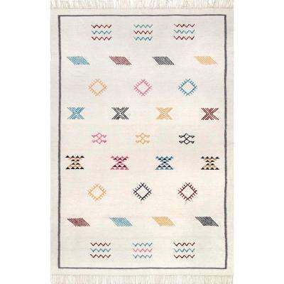 Flatweave Tribal Kendell Ivory 5 ft. x 8 ft. Area Rug