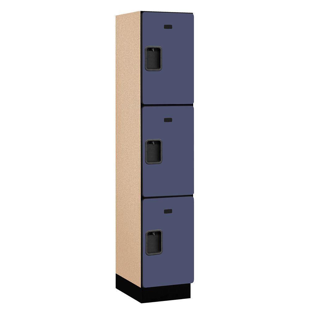 Salsbury Industries 23000 Series 3-Tier Wood Extra Wide Designer Locker in Blue - 15 in. W x 76 in. H x 18 in. D