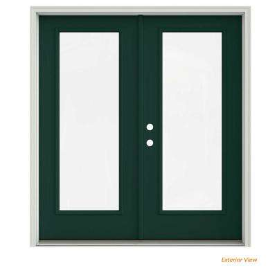 72 in. x 80 in. Hartford Green Painted Steel Right-Hand Inswing Full Lite Glass Stationary/Active Patio Door