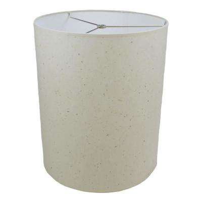 14 in. Top Diameter x 14 in. Bottom Diameter x 17 in. Height Paper Natural Speckled Drum Lamp Shade