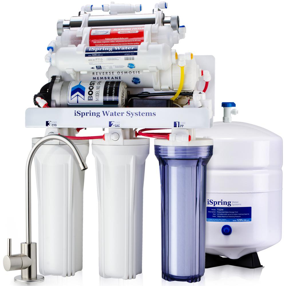7b1f250b4 ISPRING 7-Stage 100 GPD Under-Sink Reverse Osmosis Drinking Water  Filtration System with