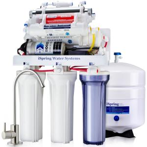 1afcd46533 ISPRING 7-Stage 100 GPD Under-Sink Reverse Osmosis Drinking Water Filtration  System with