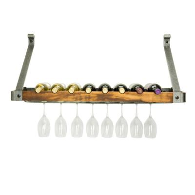Signature 30 in. 6-Bottle Bookshelf Wine Rack Hammered Steel with Tigerwood