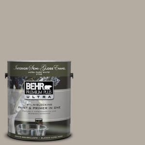 1 gal. #UL260-8 Perfect Taupe Semi-Gloss Enamel Interior Paint and Primer in One