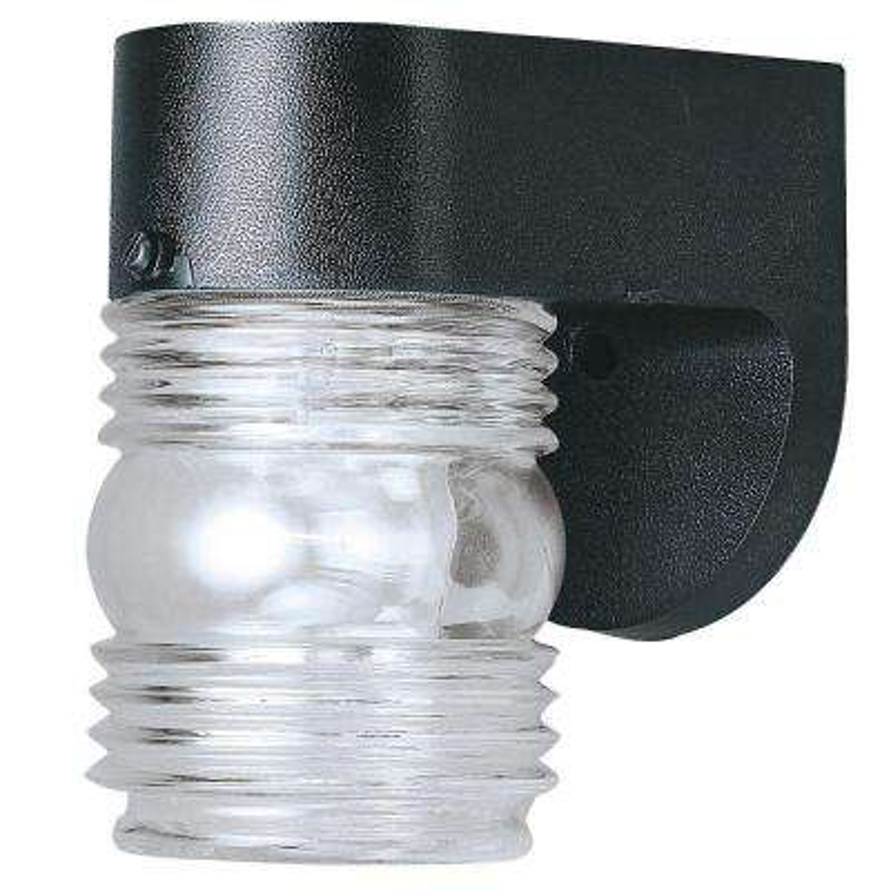 1-Light Black Hi-Impact Polypropylene Exterior Jelly Jar Wall Lantern with Clear Glass