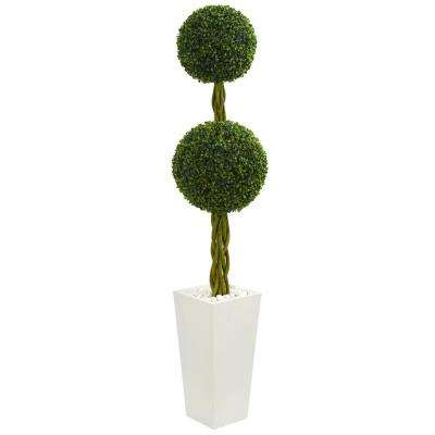 5 ft. High Indoor/Outdoor Double Ball Boxwood Topiary Artificial Tree in White Tower Planter