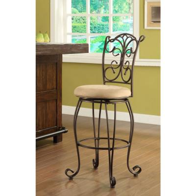 Gathered Back 24 in. Copper Metallic Cushioned Bar Stool
