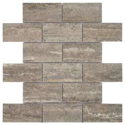 Stonehollow Smoky Taupe 12 in. x 12 in. x 6.35mm Ceramic Brick Joint Mosaic Floor and Wall Tile (0.83 sq. ft. / piece)