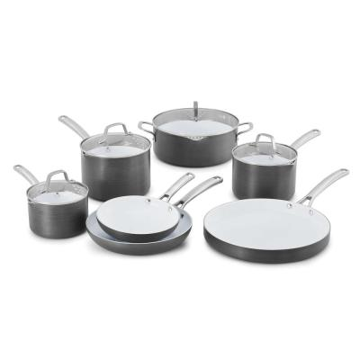 Classic 11-Piece Hard-Anodized Aluminum Ceramic Nonstick Cookware Set in Black and White