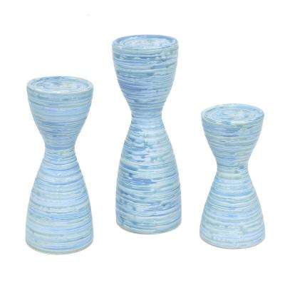 Rippled Blue Ceramic Candle Holders with Glossy Finish (Set of 3)