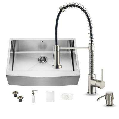 All-in-One Farmhouse Apron Front Stainless Steel 33 in. 0-Hole Single Basin Kitchen Sink and Faucet Set