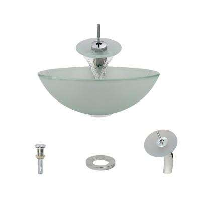 Glass Vessel Sink in Frost with Waterfall Faucet and Pop-Up Drain in Chrome