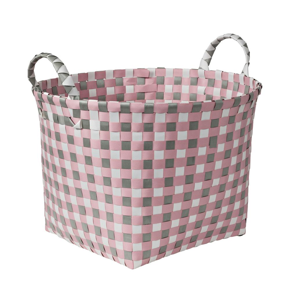 Honey-Can-Do 16 in. W x 11 in. H Light Pink and Light Grey PP Resin Round Weave Basket