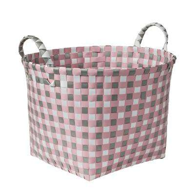 16 in. W x 11 in. H Light Pink and Light Grey PP Resin Round Weave Basket
