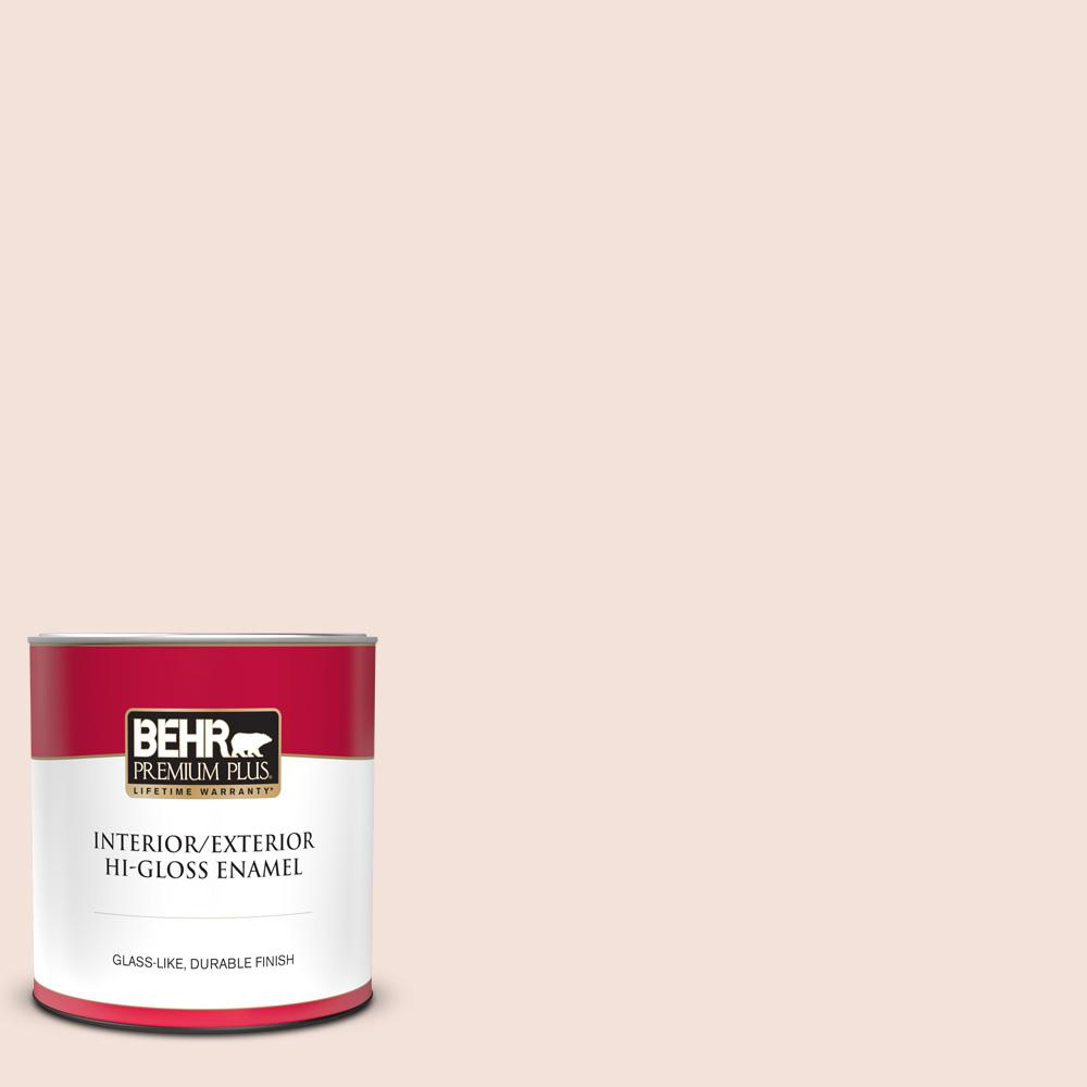 Behr Premium Plus 1 Qt Rd W12 Soft Sunrise Hi Gloss Enamel Interior Exterior Paint 805004 The Home Depot