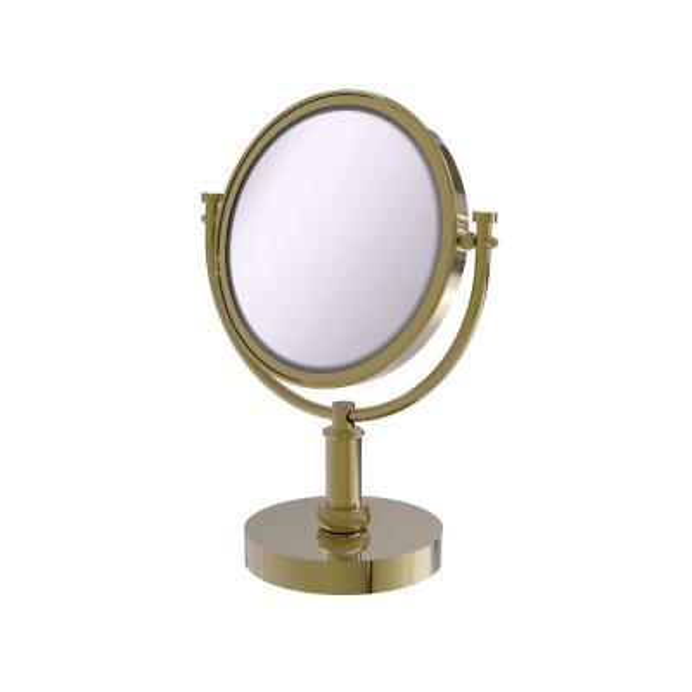 8 in. Vanity Top Makeup Mirror 3X Magnification in Unlacquered Brass