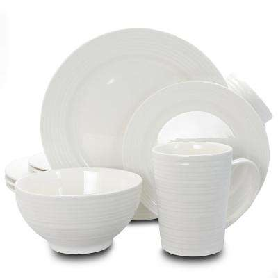 Amelia Court 16-Piece White Embossed Dinnerware Set (Service for 4)