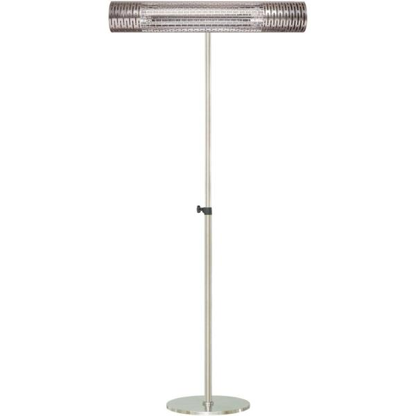 30.7 in. 1500-Watt Infrared Electric Patio Heater with Remote Control and Adjustable Pole Stand in Silver