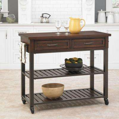 Chestnut Kitchen Cart With Storage