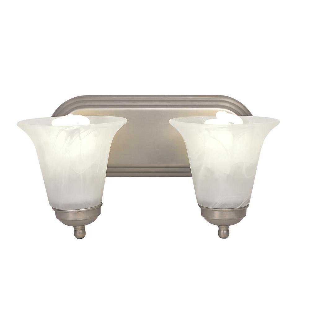 Rusty 2-Light Brushed Nickel CFL Bath Light