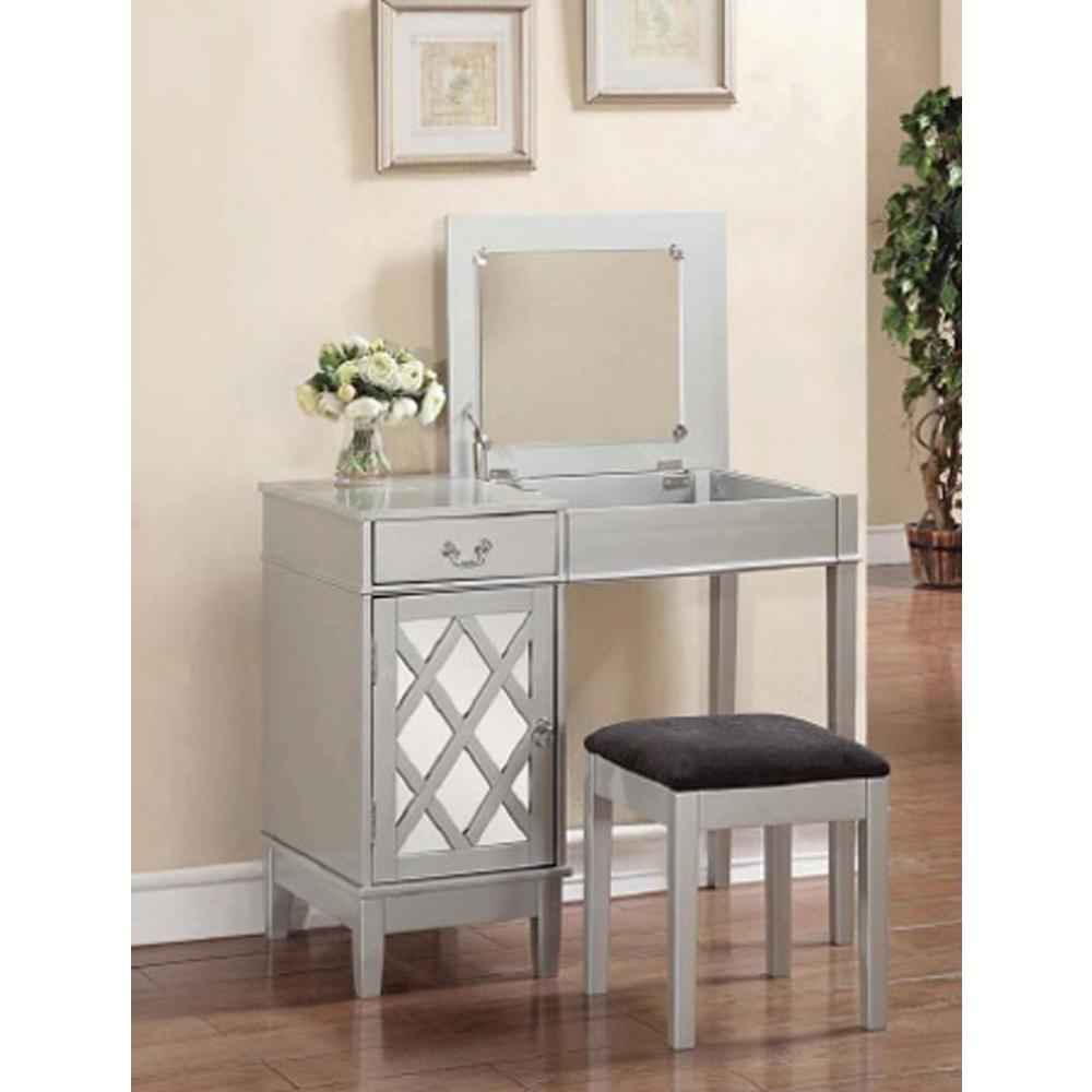 Magnificent Linon Home Decor 2 Piece Silver Vanity Set 58036Sil 01 Kd U Home Interior And Landscaping Ologienasavecom