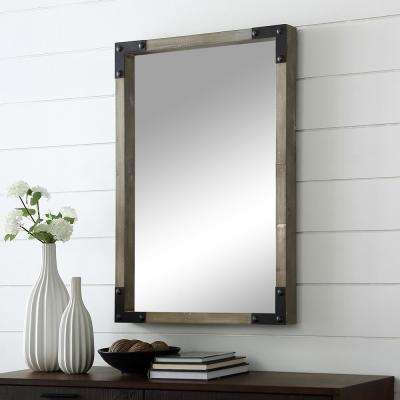 36 in. Rustic Industrial Farmhouse Rectangle Wood Metal Wall Mirror